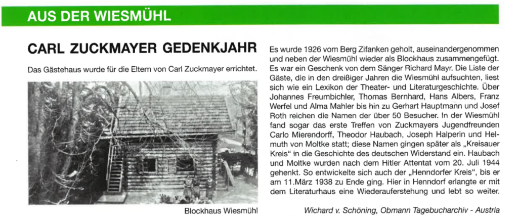 Carl Zuckermayer Gedenkjahr